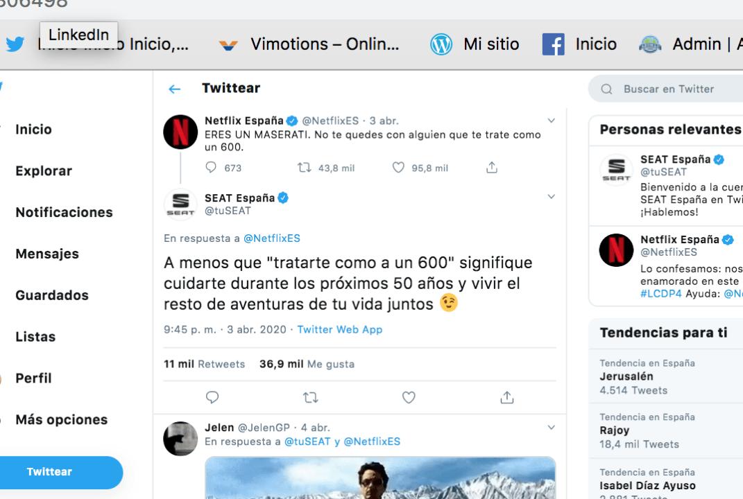 Imagen de un tweet publicado por Netflix España